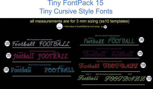 Tiny Font Pack 15 Download Only ,TTF Rhinestone Fonts & Rhinestone Designs