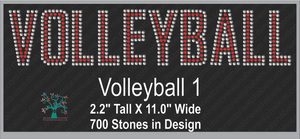 Volleyball Word 1 Rhinestone TTF  Alphabets and Rhinestone Designs