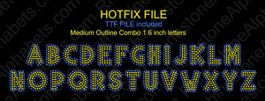 HotFix Medium Outline Combo ,TTF Rhinestone Fonts & Rhinestone Designs