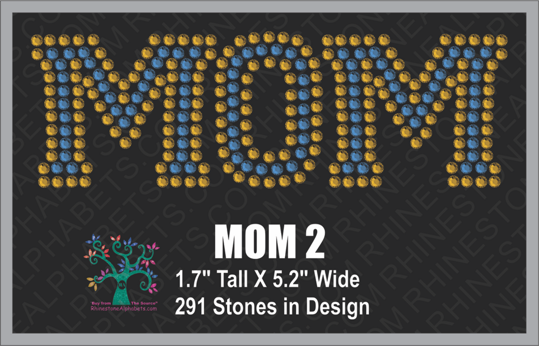 MOM Word 2 ,TTF Rhinestone Fonts & Rhinestone Designs