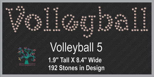 Volleyball Word 5 Rhinestone TTF  Alphabets and Rhinestone Designs