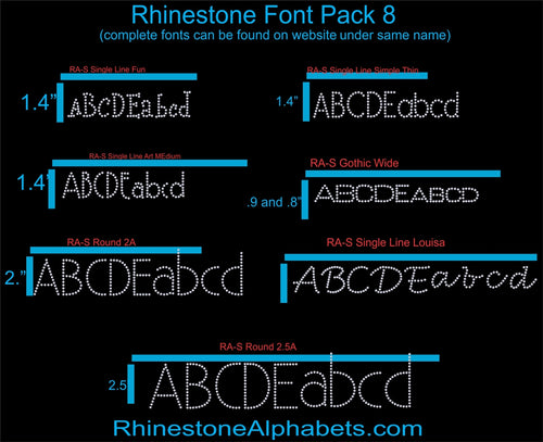 Font Pack 8 Download only ,TTF Rhinestone Fonts & Rhinestone Designs