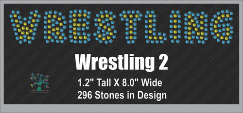 Wrestling Word 1 Rhinestone TTF  Alphabets and Rhinestone Designs