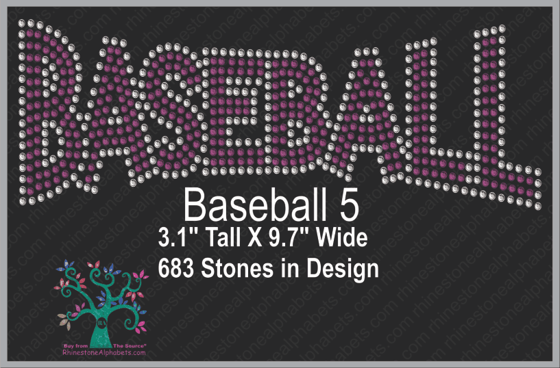 Baseball Word 5 ,TTF Rhinestone Fonts & Rhinestone Designs