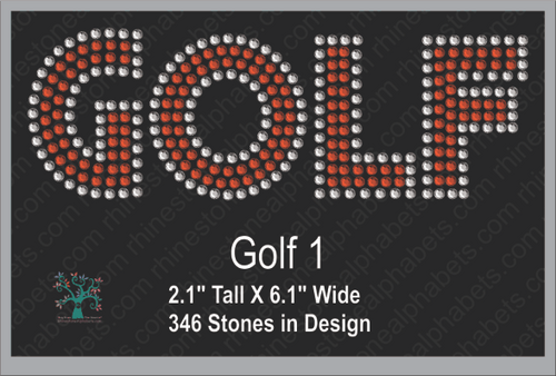 Golf 1 ,TTF Rhinestone Fonts & Rhinestone Designs
