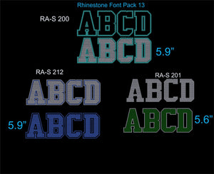 Font Pack 13 Download Only ,TTF Rhinestone Fonts & Rhinestone Designs