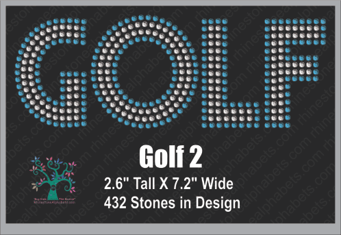 Golf Word 2 ,TTF Rhinestone Fonts & Rhinestone Designs