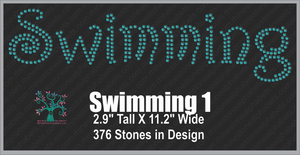 Swimming  Word 1 ,TTF Rhinestone Fonts & Rhinestone Designs