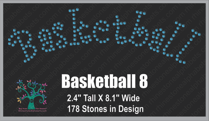 Basketball  Word 8 ,TTF Rhinestone Fonts & Rhinestone Designs