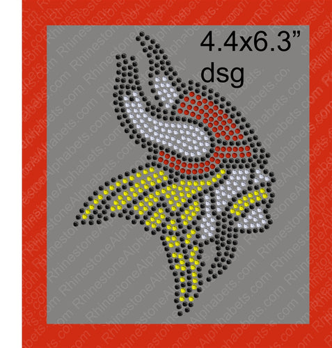 Viking 1 Mascot for .dsg file Rhinestone TTF  Alphabets and Rhinestone Designs