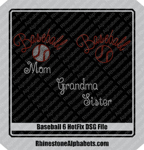 Baseball 6Hotfix DSG File Only! ,TTF Rhinestone Fonts & Rhinestone Designs