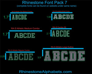 Font Pack 7 Download Only ,TTF Rhinestone Fonts & Rhinestone Designs