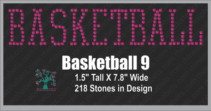Basketball  Word 9 ,TTF Rhinestone Fonts & Rhinestone Designs