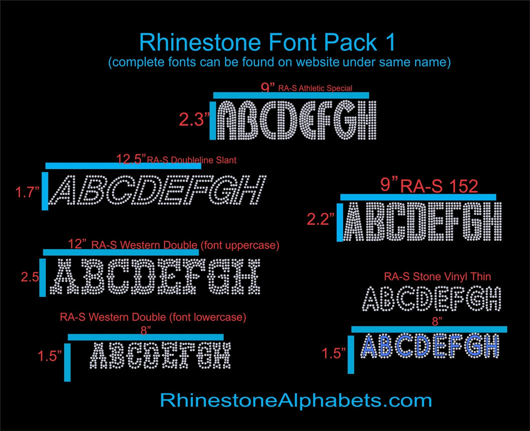 Font Pack 1 Download Only ,TTF Rhinestone Fonts & Rhinestone Designs