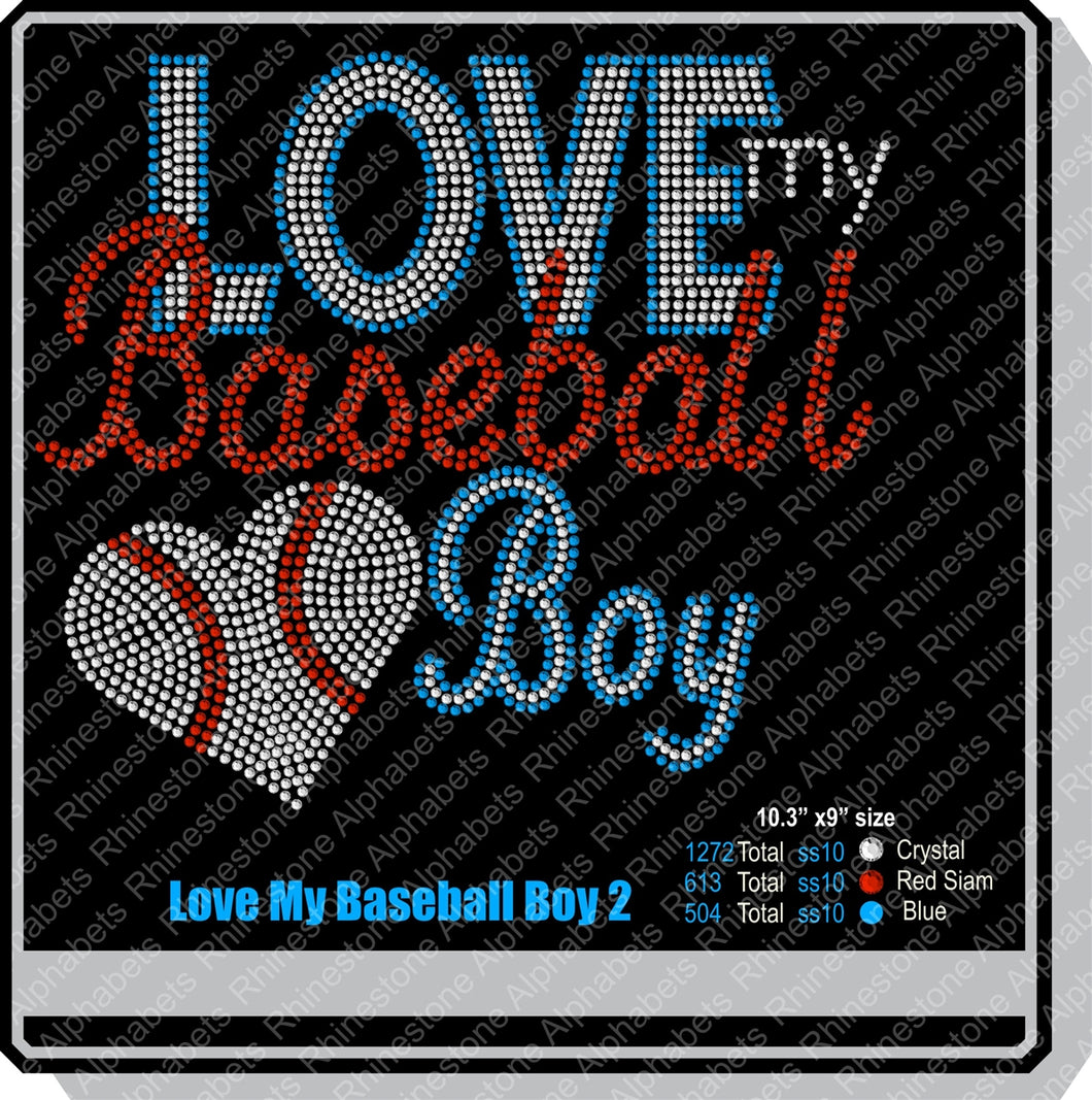Love my baseball boy2 ,TTF Rhinestone Fonts & Rhinestone Designs