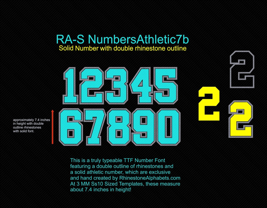 RA-S NumbersAthletic7B ,TTF Rhinestone Fonts & Rhinestone Designs
