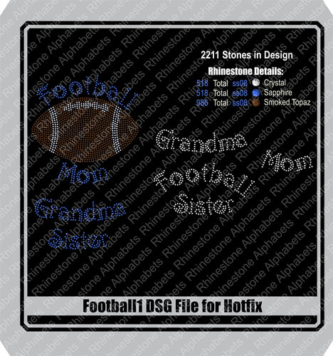 Football  1 Hotfix DSG File Only! ,TTF Rhinestone Fonts & Rhinestone Designs