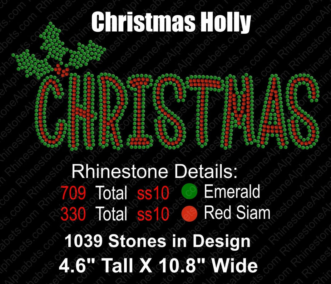 Christmas Holly ,TTF Rhinestone Fonts & Rhinestone Designs