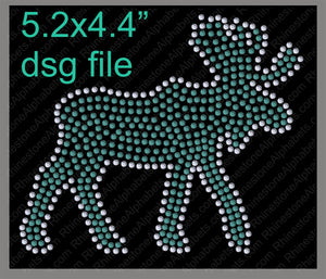 Moose mascot for .dsg file ,TTF Rhinestone Fonts & Rhinestone Designs