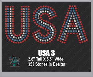 USA  Word 3 Rhinestone TTF  Alphabets and Rhinestone Designs