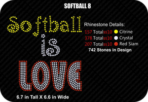 SOFTBALL 8 ,TTF Rhinestone Fonts & Rhinestone Designs