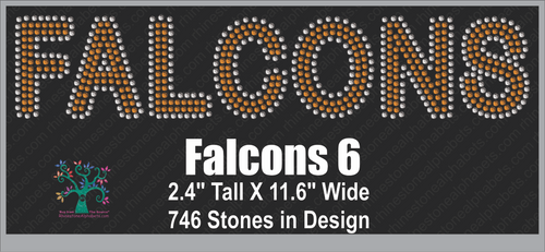 Falcons Word 6 ,TTF Rhinestone Fonts & Rhinestone Designs