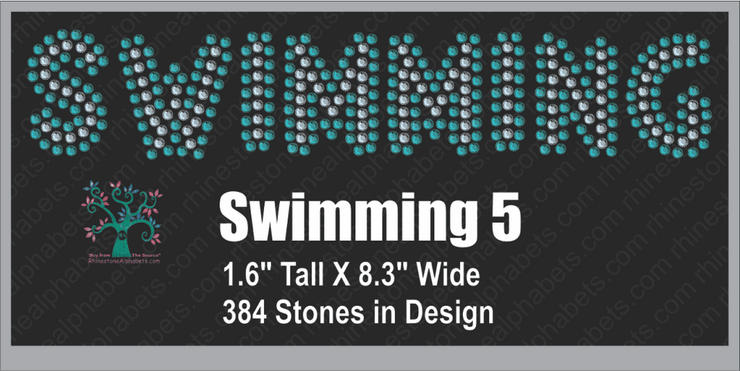 Swimming  Word 5 ,TTF Rhinestone Fonts & Rhinestone Designs