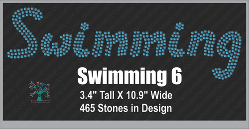 Swimming  Word 6 ,TTF Rhinestone Fonts & Rhinestone Designs