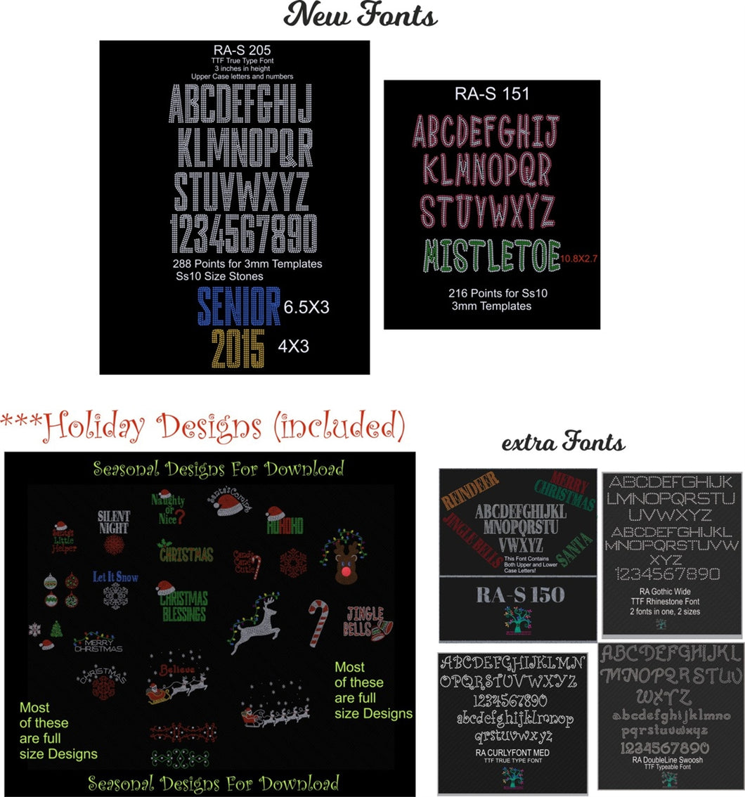 Holiday Deal 3 ,TTF Rhinestone Fonts & Rhinestone Designs