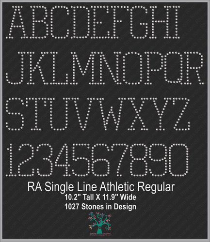 RA SingleLine Athletic Regular ,TTF Rhinestone Fonts & Rhinestone Designs