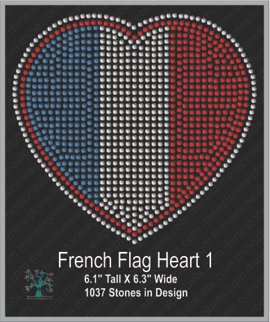 French Heart Flag 1 ,TTF Rhinestone Fonts & Rhinestone Designs