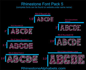 Font Pack 5  Download Only ,TTF Rhinestone Fonts & Rhinestone Designs