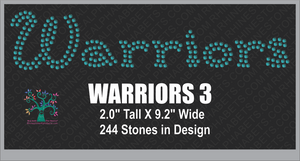 Warriors Word 3 Rhinestone TTF  Alphabets and Rhinestone Designs