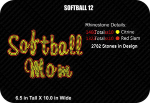 SOFTBALL 12 ,TTF Rhinestone Fonts & Rhinestone Designs
