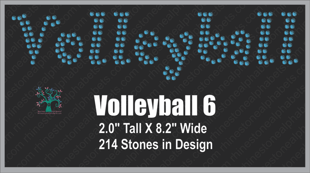 Volleyball Word 6 Rhinestone TTF  Alphabets and Rhinestone Designs