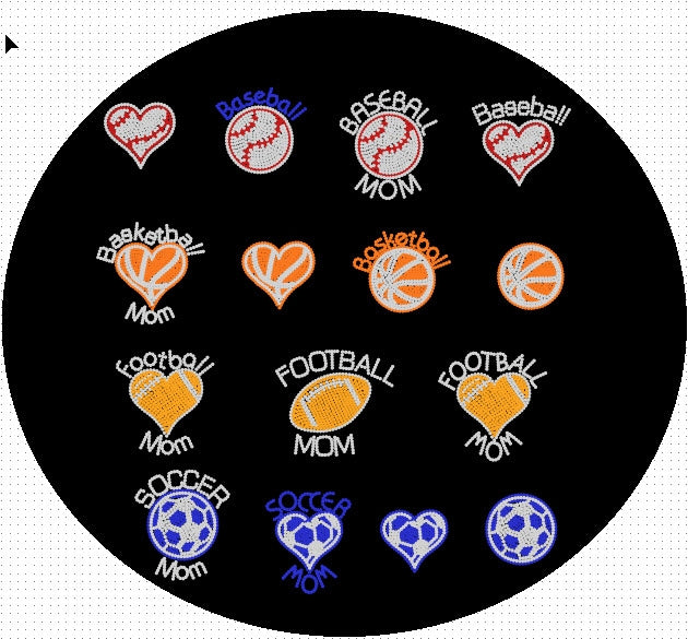 Sportsballs-Small in HOTFIX ,TTF Rhinestone Fonts & Rhinestone Designs