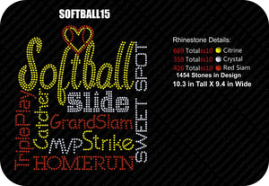 SOFTBALL 15 ,TTF Rhinestone Fonts & Rhinestone Designs