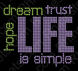 Life is Simple 2 ,TTF Rhinestone Fonts & Rhinestone Designs
