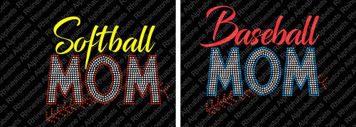 Baseball Softball Mom combo ,TTF Rhinestone Fonts & Rhinestone Designs