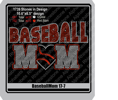 Baseball Mom 17-7 ,TTF Rhinestone Fonts & Rhinestone Designs