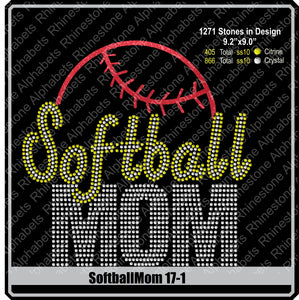 Softball Mom 17-1 ,TTF Rhinestone Fonts & Rhinestone Designs