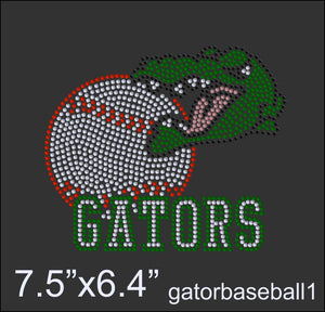 Gator Baseball, Rhinestone Design eps and svg file