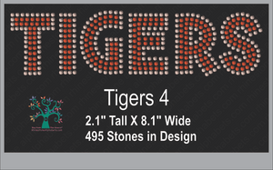 Tigers Word 4 ,TTF Rhinestone Fonts & Rhinestone Designs