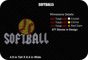 SOFTBALL 5 ,TTF Rhinestone Fonts & Rhinestone Designs