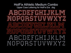 Hot Fix Athletic Medium Combo ,TTF Rhinestone Fonts & Rhinestone Designs