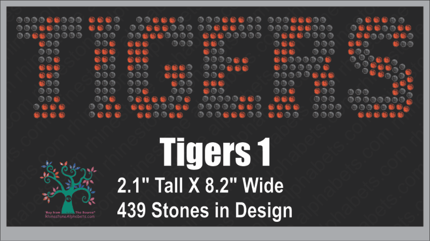 Tigers Word 1 ,TTF Rhinestone Fonts & Rhinestone Designs