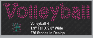 Volleyball Word 4 Rhinestone TTF  Alphabets and Rhinestone Designs