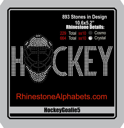Hockey Goalie 5 ,TTF Rhinestone Fonts & Rhinestone Designs