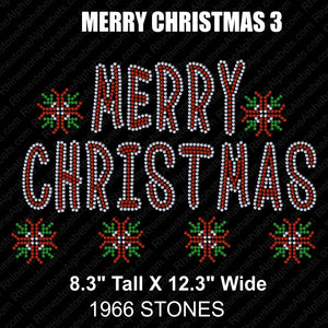Merry Christmas 3 ,TTF Rhinestone Fonts & Rhinestone Designs