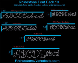 Font Pack 10 Download only ,TTF Rhinestone Fonts & Rhinestone Designs